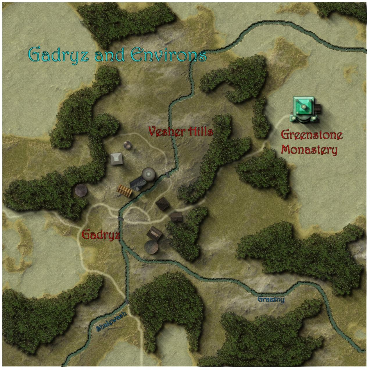 Part of the Challenge entry for October 2007, depicting the region in which the Greenstone Monastery is found.