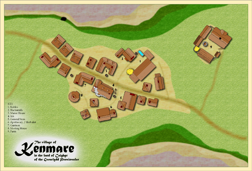 Kenmare, a mining village in the Caighyr region of the Gwaelydd Peninsular on the World of Belmyr