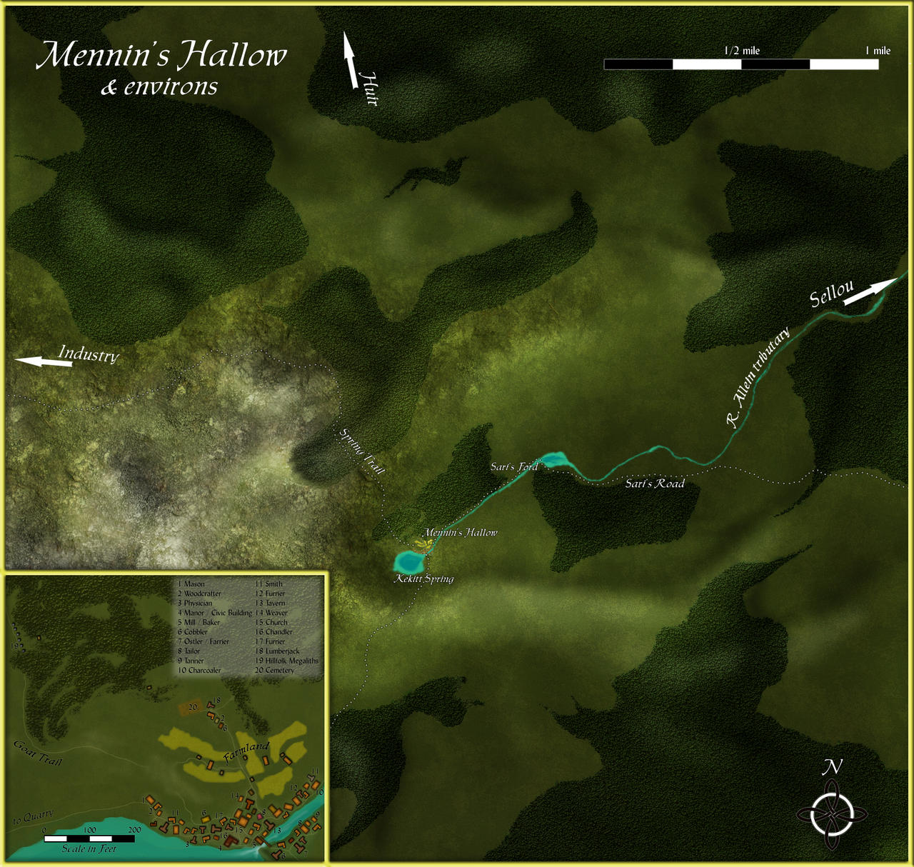 Mennin's Hallow, a local map within the Tawaren Basin.  For the CWBP.  Adobe Photoshop 7.