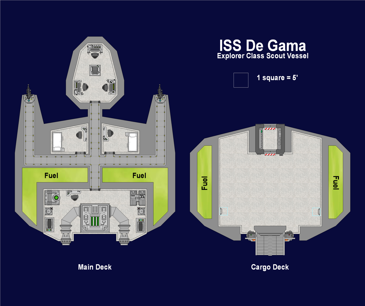 Deckplan of a small scout ship (100px / 5ft)