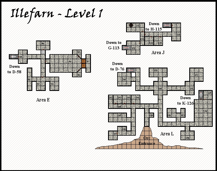 Illefarn level1 - Dungeon map from the adventure Under Illefarn.
