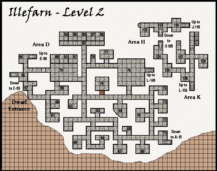 Illefarn level2 - Dungeon map from the adventure Under Illefarn.