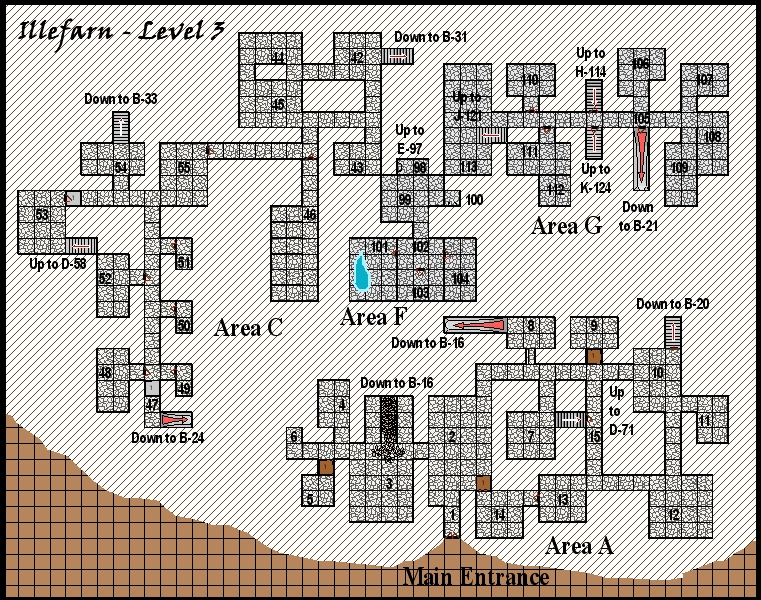Illefarn level3 - Dungeon map from the adventure Under Illefarn.