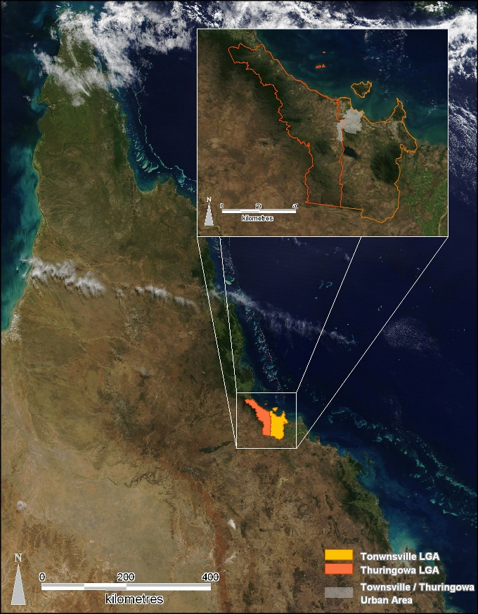 QLD Showing Townsville and Thuringowa using NASA satellite images.