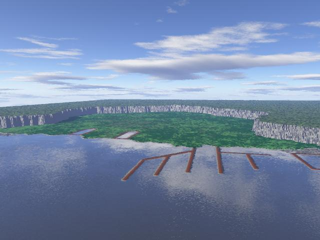 Wide Angle View of Haevenstadt Harbor during early development showing both the lower and upper portions of the land form as well as docks and cliff faces as rendered in Terragen.