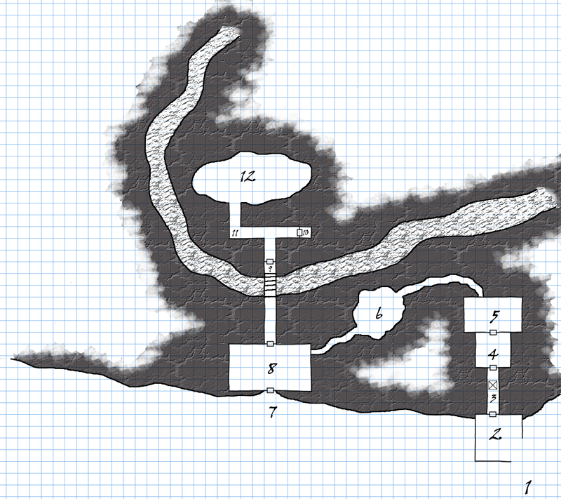"First attempt at an ""old school"" map drawn in GIMP."