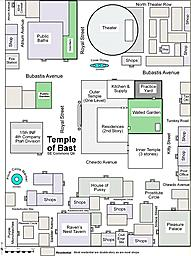 Temple of Bast, Caloren City, Caloren States  A neighborhood map around the Temple of Bast.  Bast (or Bastet) is the Egyptian cat goddess, who's...