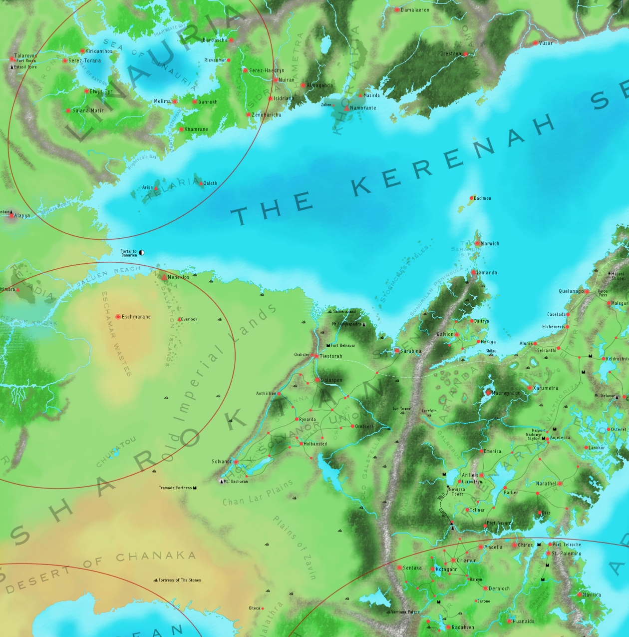This is part of a world map I did for my last long-running campaign (which was a sort of cross between Final Fantasy and CB's Imajica!). I've re-sized and redrawn this one plenty of time so some of the rivers look a little jaggy to say the least. The semi-transparent areas a crude attempt to show floating landmasses. This is about 70 to 80% of the actual size - It's much more readable when I print the thing out! The style is pretty much based on a map from the back of the Final Fantasy 8 strategy guide by piggyback.