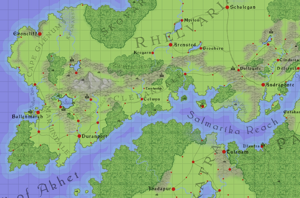 This is part of the section I decided to concentrate on for my new campaign. I've just bought a new tablet (my first one!) and I'm rather enjoying drawing this map like that. I also decided to put 10 mile grid over the top and see if that works.