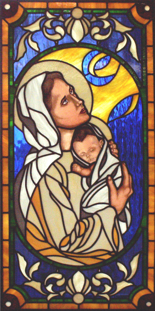 Mary and baby Jesus for a private chapel; 2006; Spectrum cathedrals and opalescents with hand painting