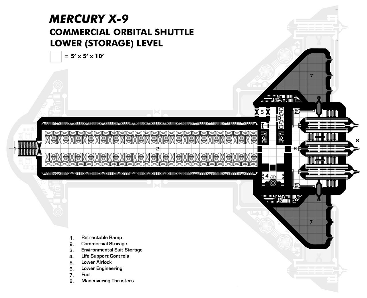 Mercury X-9 Lower Deck (Space Plane/Commercial Shuttle)