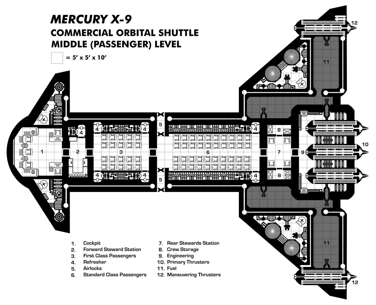 Mercury X-9 Middle Deck (Space Plane/Commercial Shuttle)