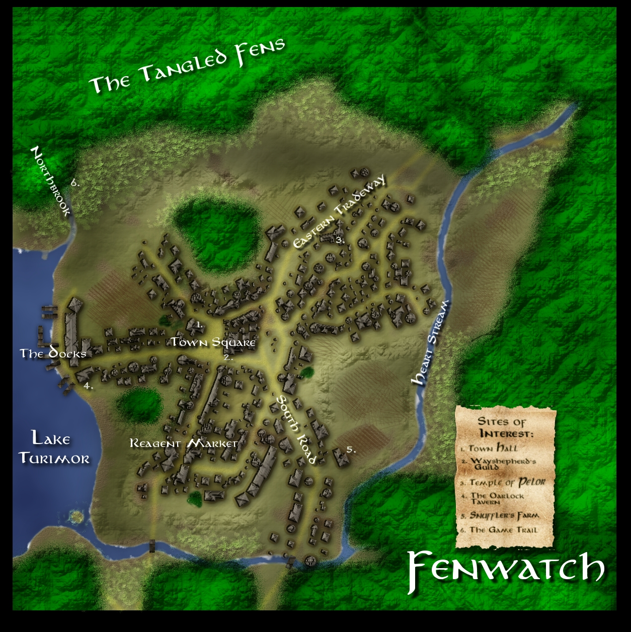 Fenwatch: The town of Fenwatch is a border town and key layover stop on the Eastern Tradeway running from the kingdom of Turimor over the Cloud Peak mountains and across the wastes beyond.