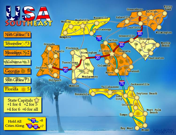 USA South East. 1 of 6 Map Pack