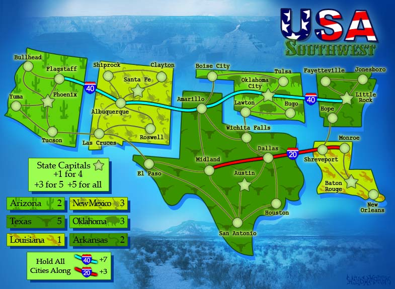 USA South West. 1 of 6 Map Pack