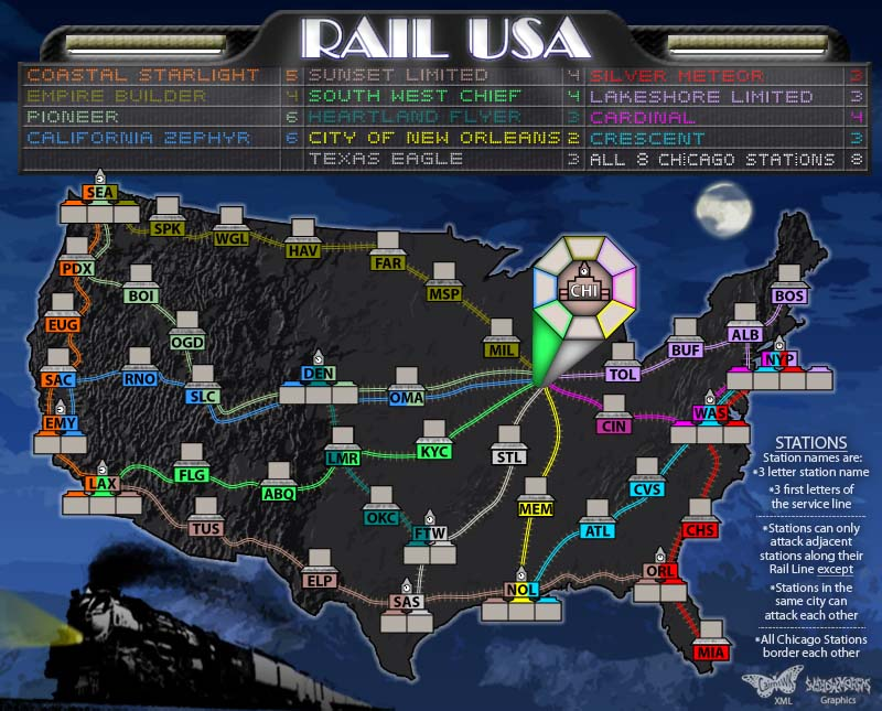 Rail USA Map.  A map of the USA rail lines and the major hub cities.