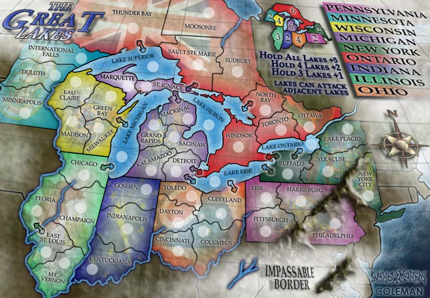 Great Lakes Map.  First map where I used Illustrator