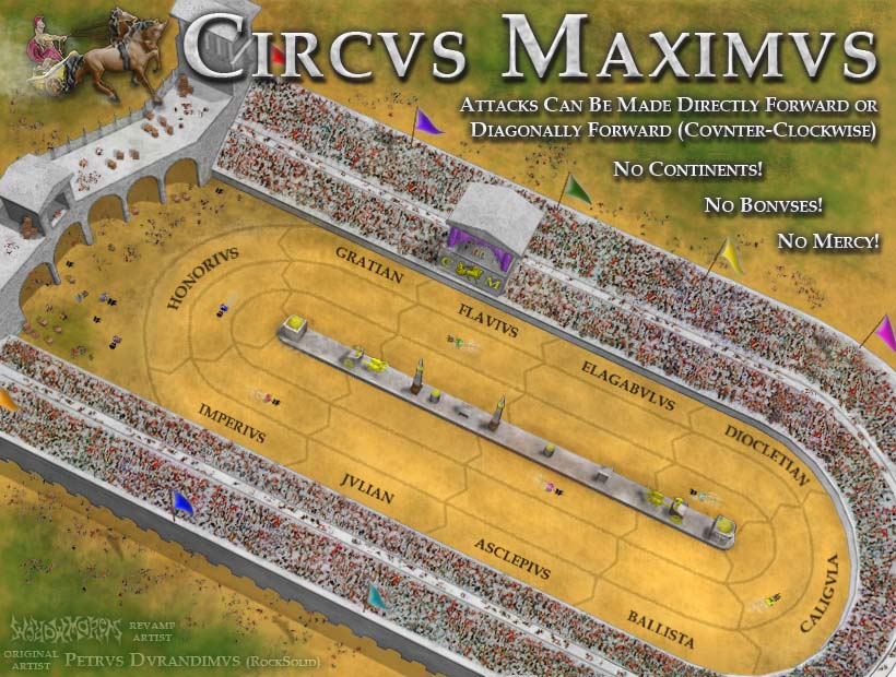 A cartoony map representing Circus Maximus race track