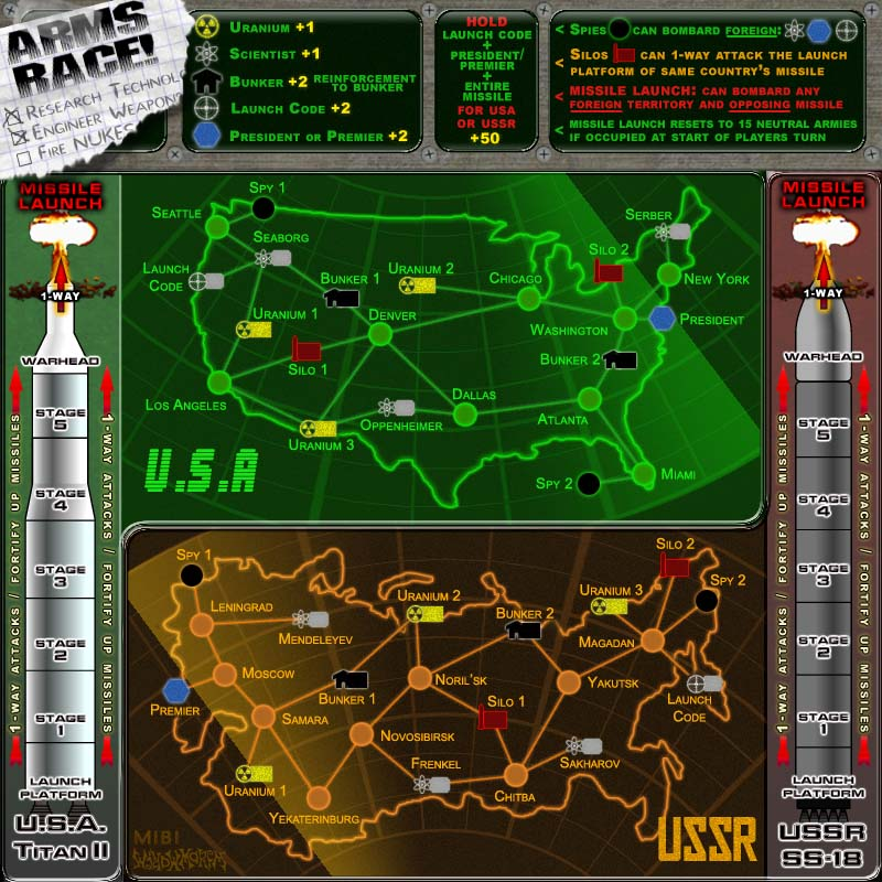 Arms Race!  A Cold War themed map.  Build up your research and develop the ultimate weapons.  Radar style map map look and old computer terminal feel.