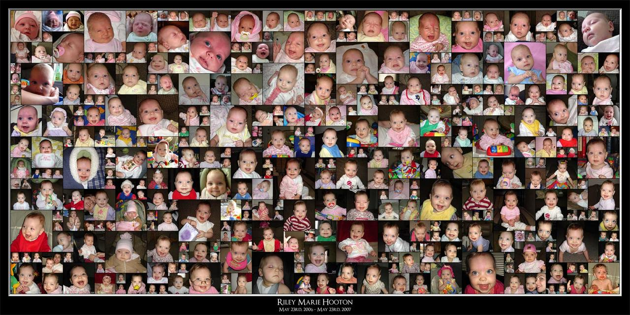 A collage of 366 pics I took of my first child (daughter, Riley) over the first year of here life.  It is a 5'x2.5' picture.  I still need to frame it.  It is made up of 1, 2, 3 and 4 inch square cropped images.