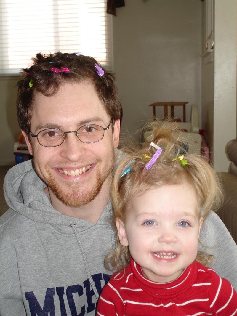 Dad and daughter CRAZY HAIR DAY.