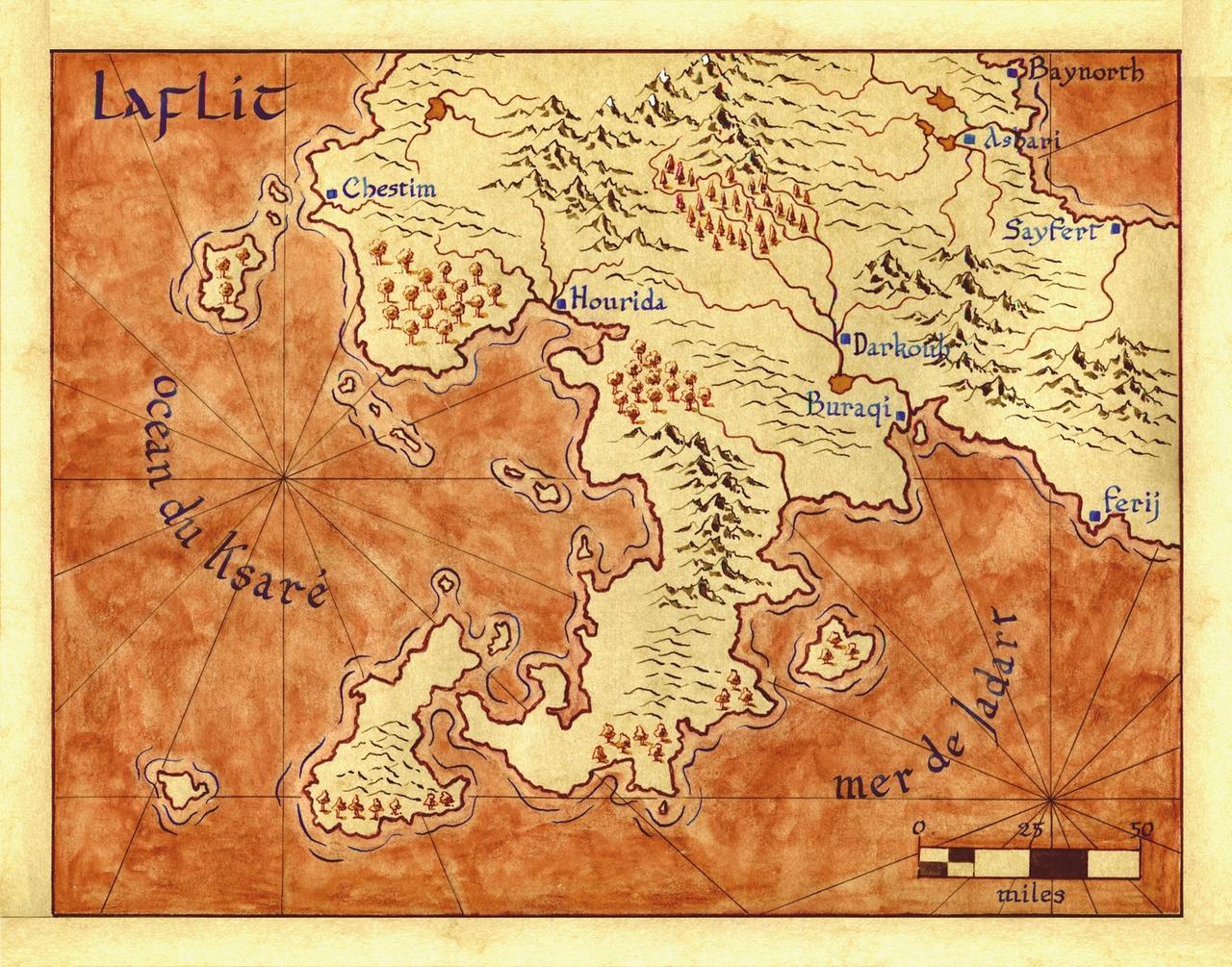 Terra incognita 4 sur papier peau d'�l�phant, � l'encre et l'aquarelle