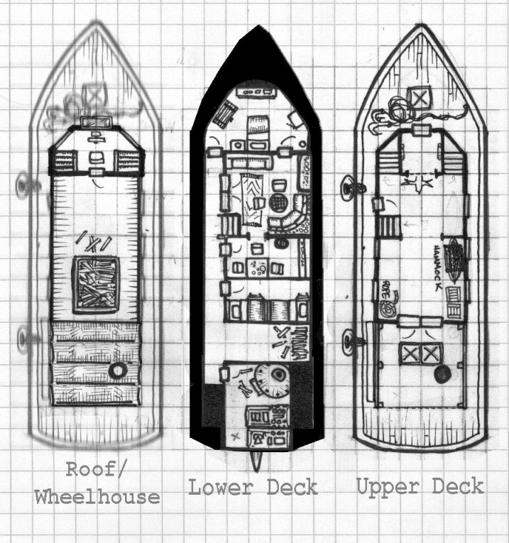 Deckplans for the El Halcon riverboat. B&W version.