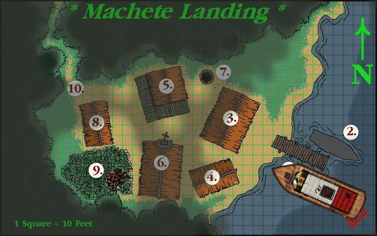 """Machete Landing"" -- former mission turned jungle outpost."