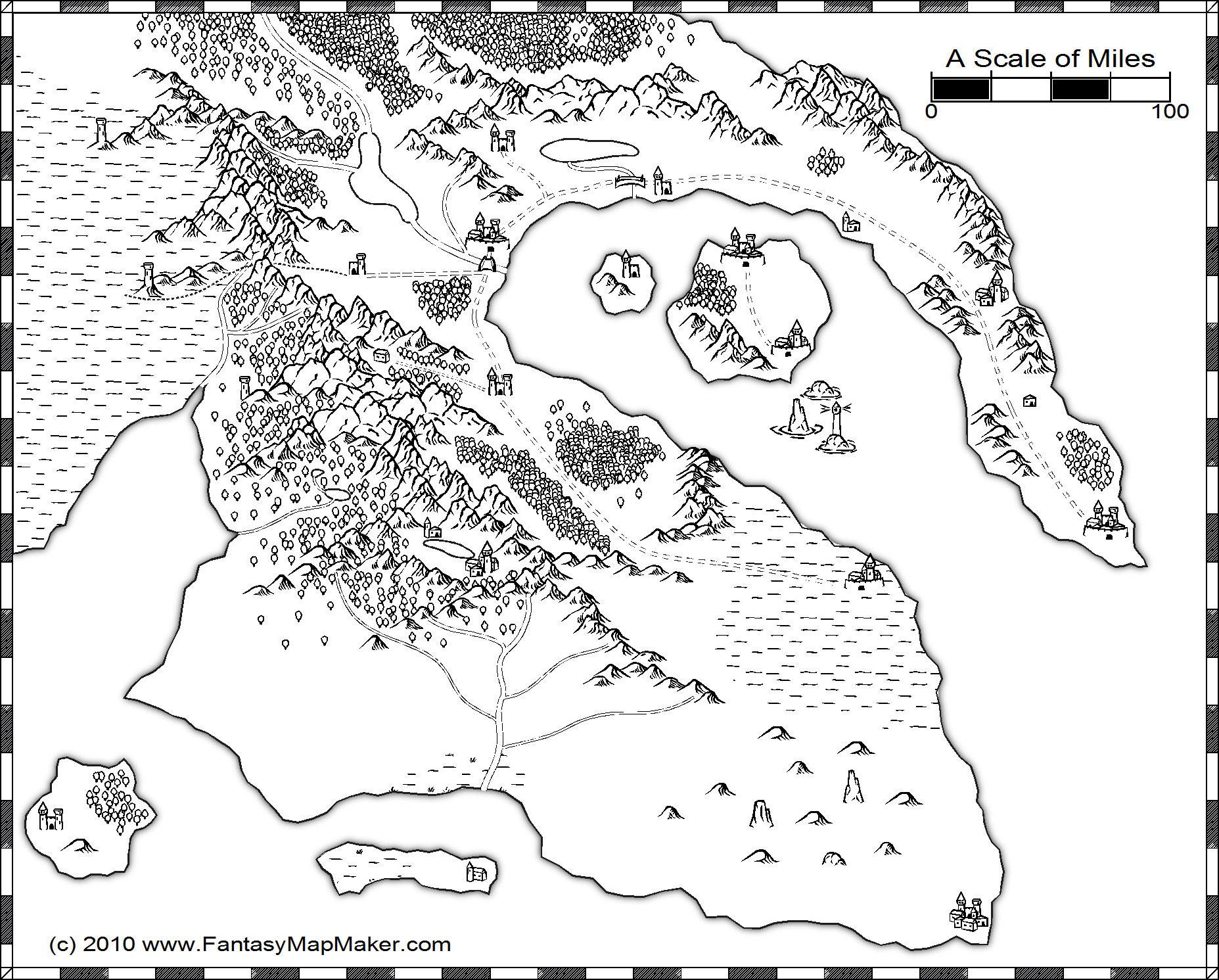 B/W overland map