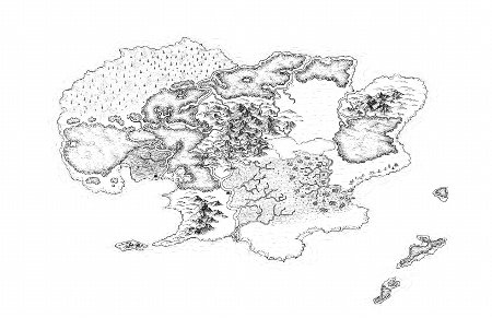A line art map created for a private commission.