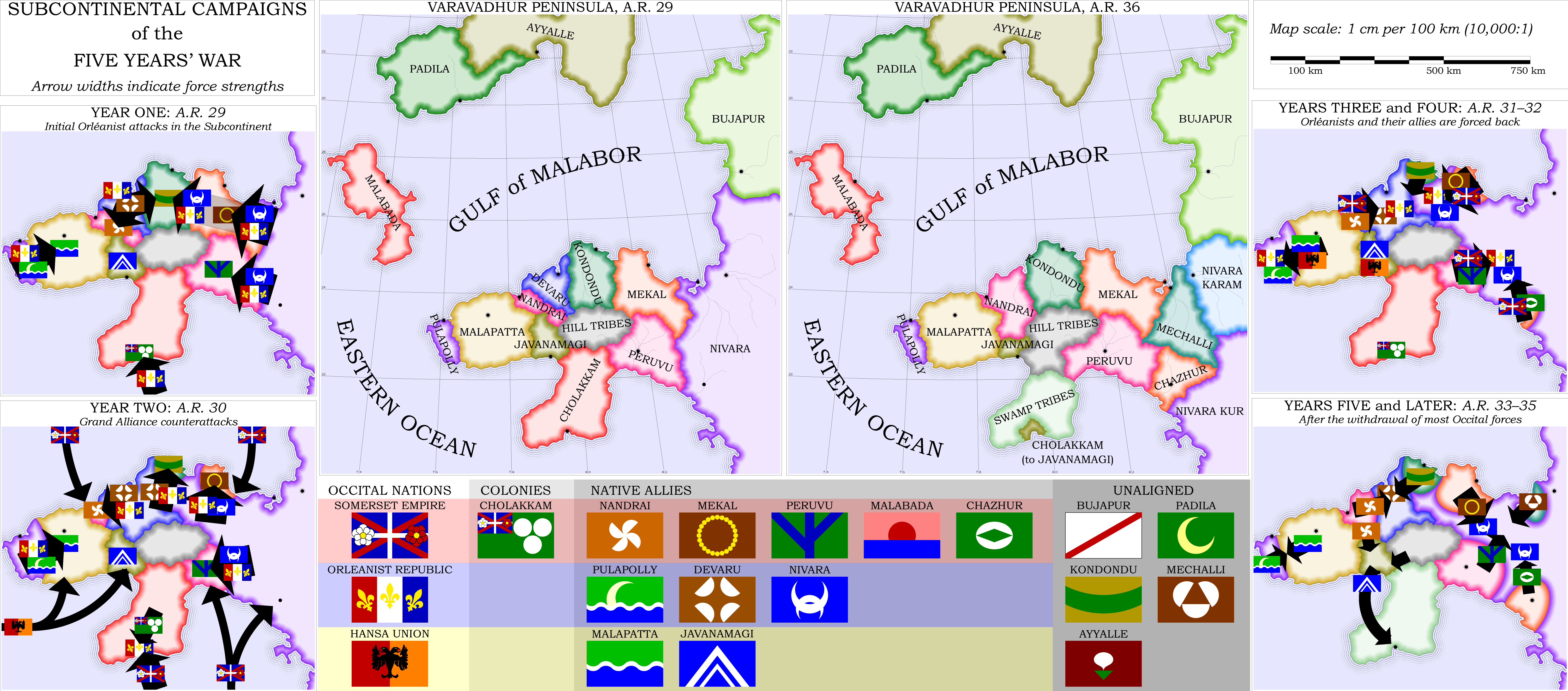 """Peninsular Campaigns of the Five Years War""; entered in the 2009 September Challenge.  Rendered entirely in Asymptote.