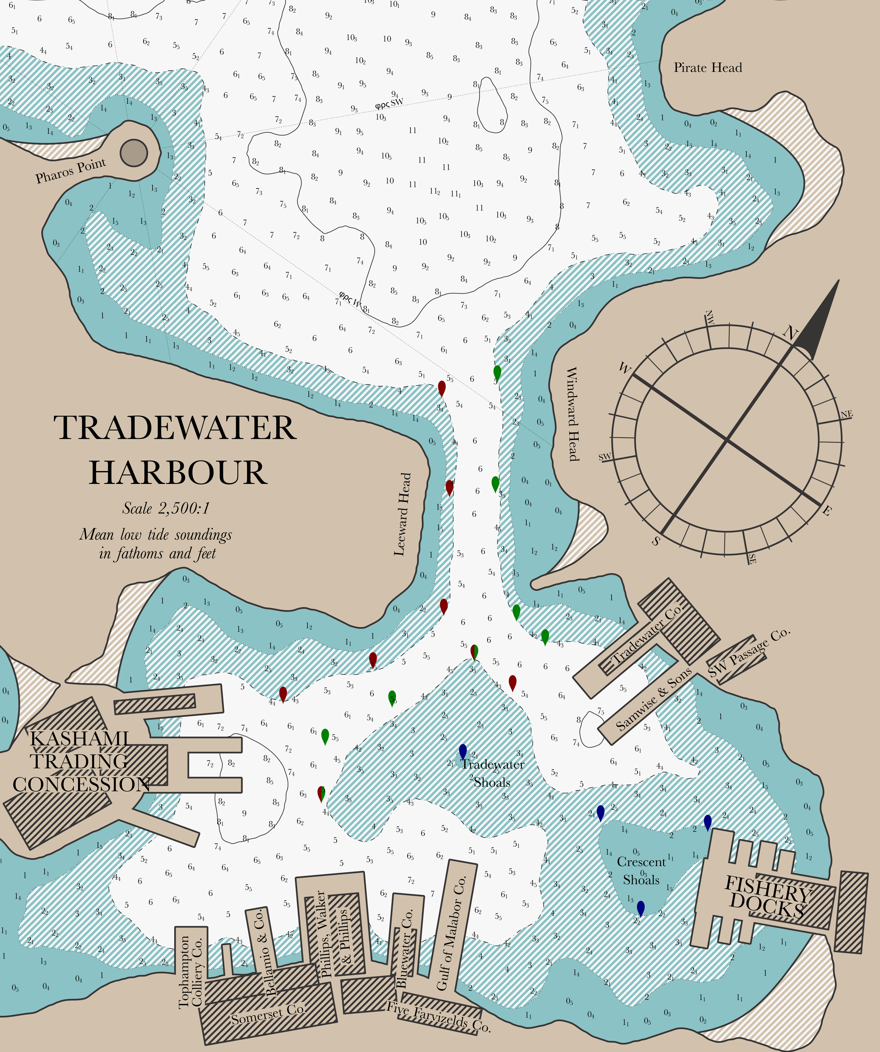 """Tradewater Harbour""; entered in the 2009 October Challenge.  Includes shading by water depth and depth soundings.  Rendered entirely in Asymptote.