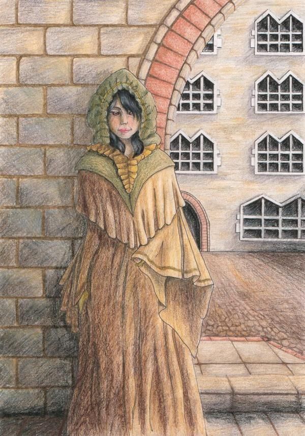 My book's main character Ila, standing in the courtyard archway at Academic House