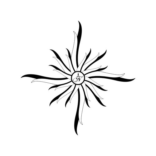 compass bw flower