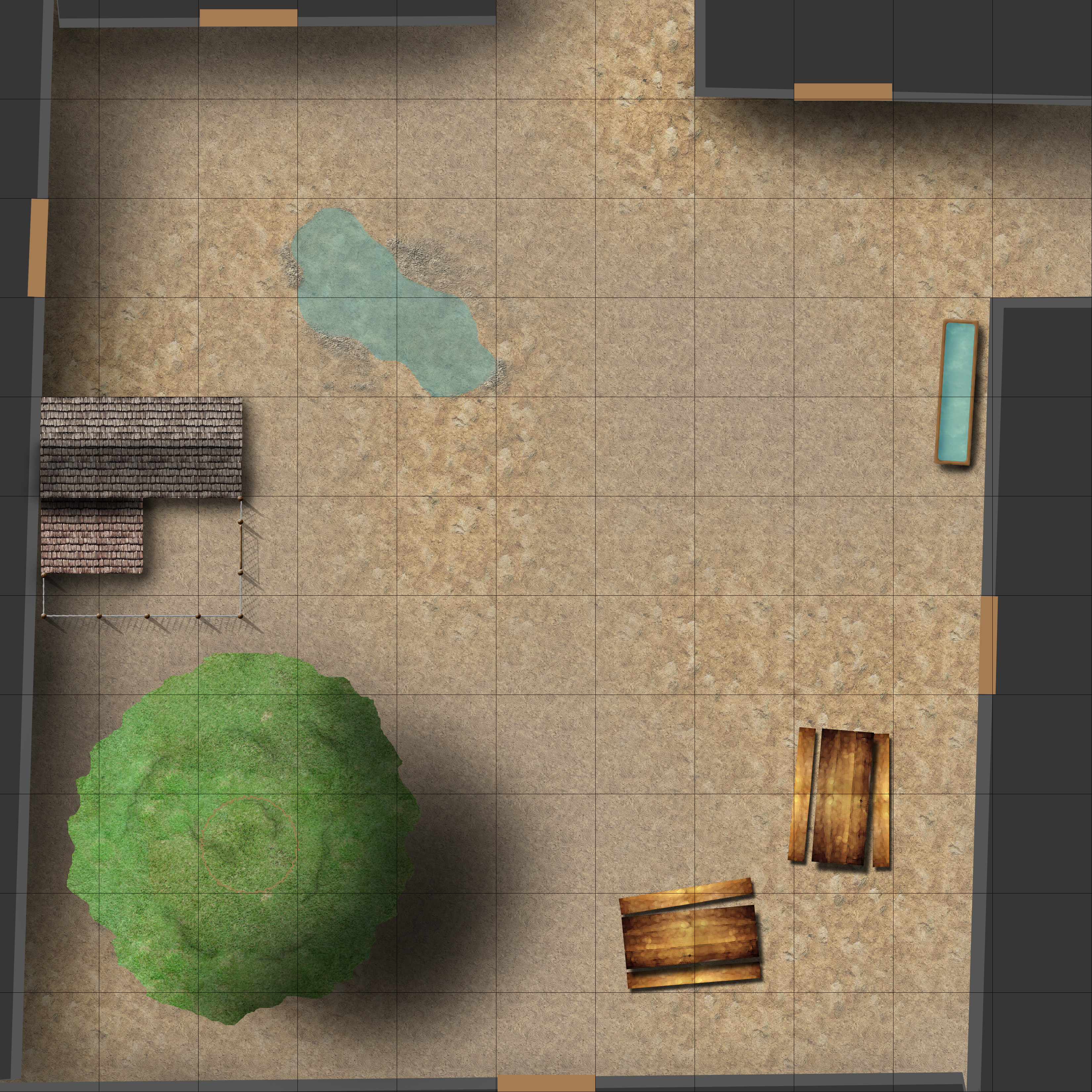Combat map of a backyard i a random city