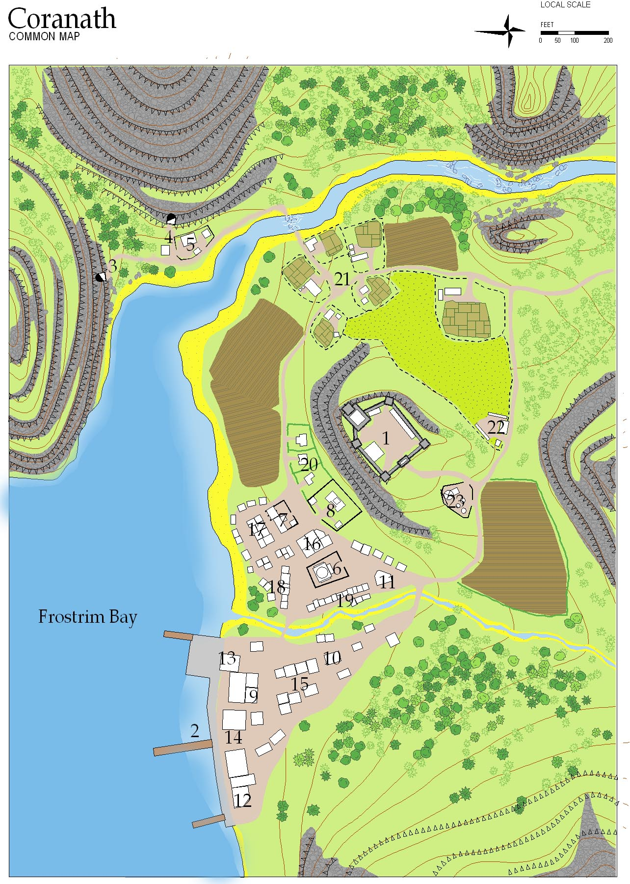 This is the town of Coranath.  This map was done with CC2 and the Mappa Harnica toolkit.