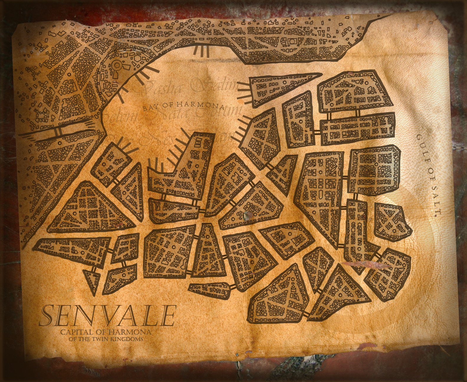 "SENVALE - Senvale is the capital city of the Kingdom of Harmona. Highly industrialized, with state of the art canals gridding the city regions and modernized conveniences around every turn. To understand the city you must understand Harmona's ruling body - six noble houses each owning a sixth of the country; sworn to civility yet all constantly vying for the title of ""royal house."" Reflecting this, the city is divided into smaller territories controlled by the various houses. Differences in aesthetic, culture and even law are noticeable on just a short steamferry ride through the city."
