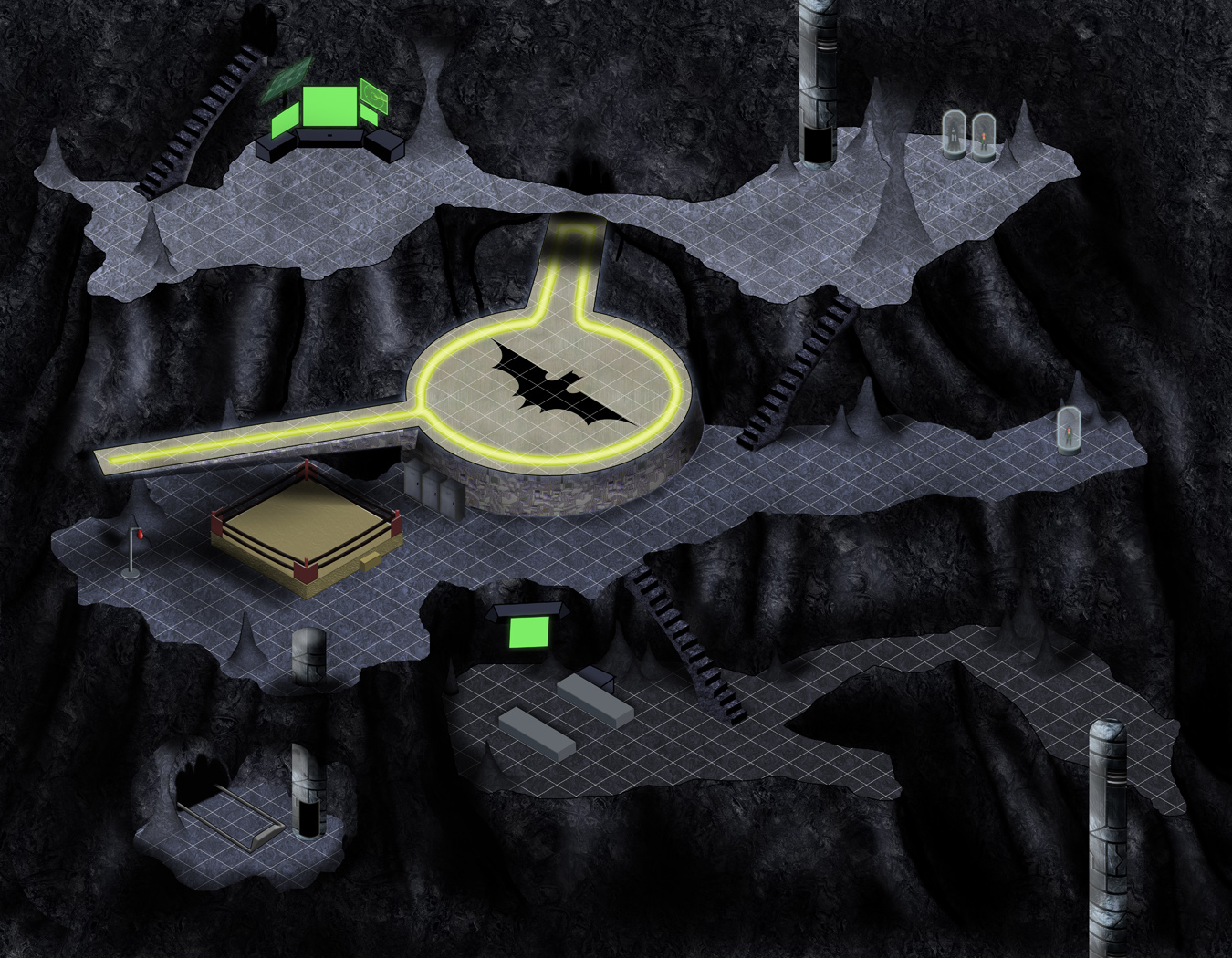 "An unfinished Bat Cave for the ""Map from a Story"" challenge."