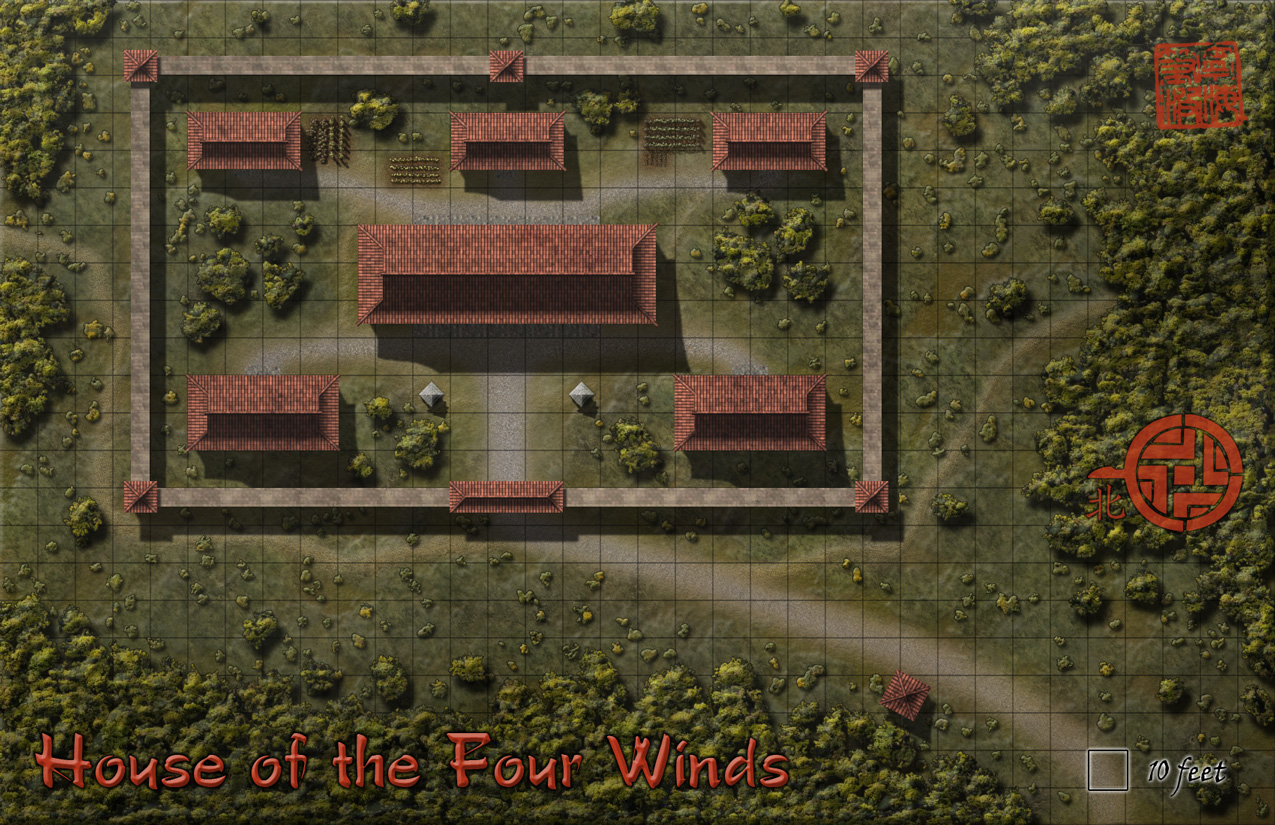 House of the Four Winds - A battlemap for my Curse of the Emperor's Stone adventure.  Created in Photoshop from a blow-up of a section of my Haibianr city map.