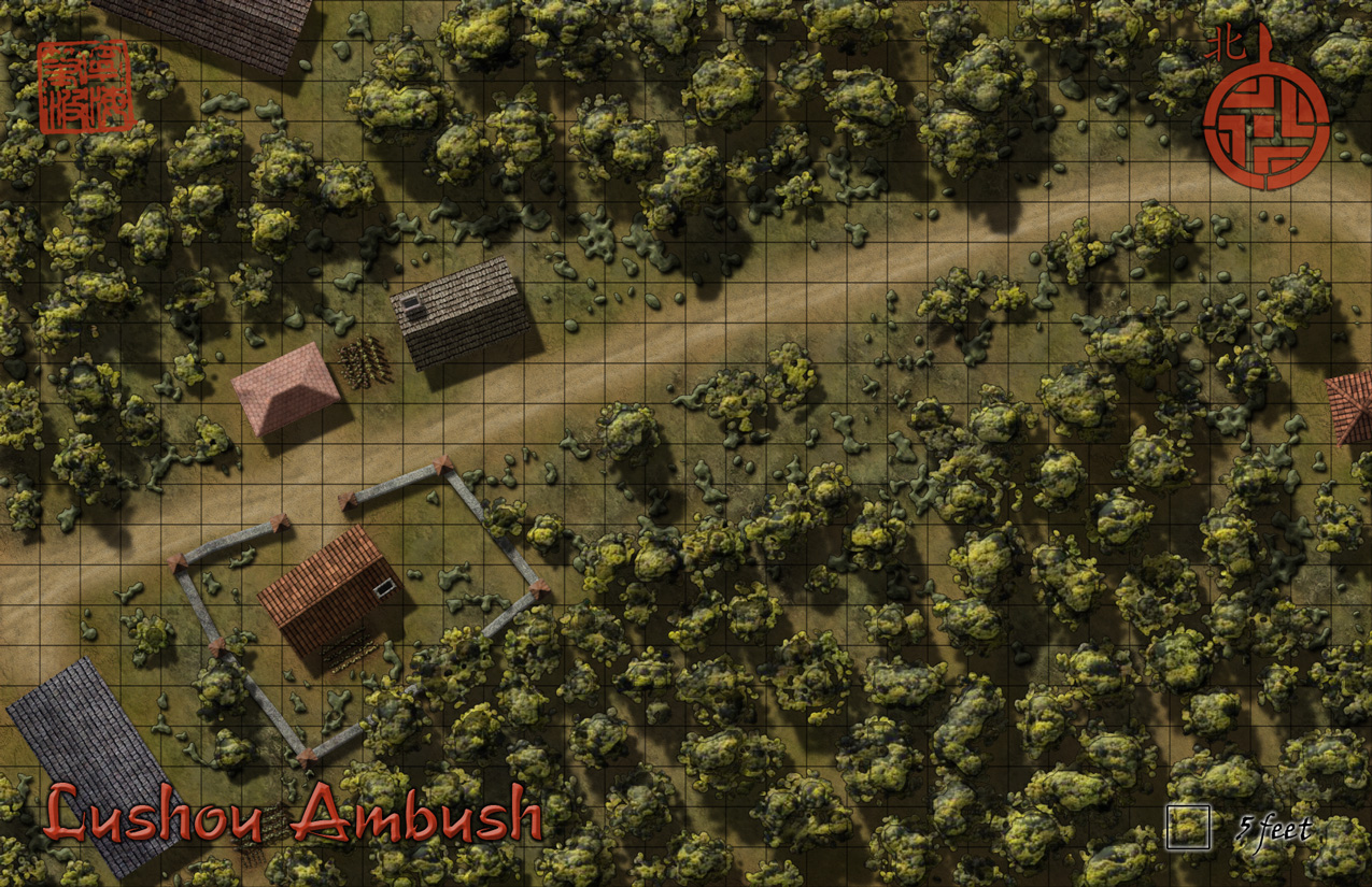 Lushou Ambush - A battlemap for my Curse of the Emperor's Stone adventure.  Created in Photoshop from a blow-up of a section of my Haibianr city map.