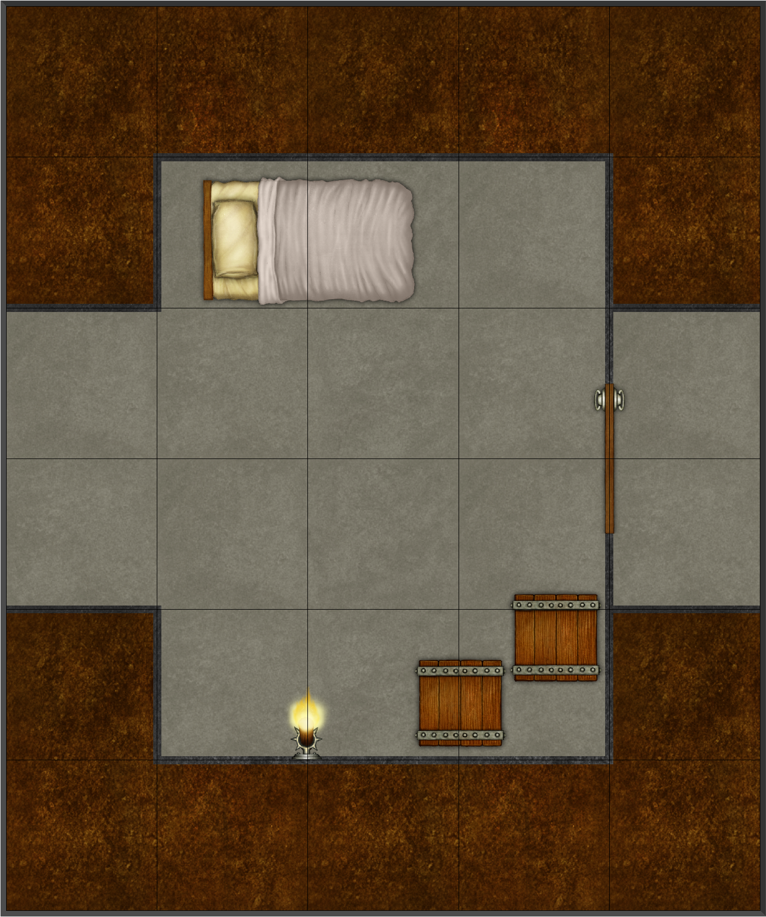 Effects Map Base a Simple DD3 map with a single room, an open corridor and a corridor sealed off by a door. In the room is a bed, two crates and a torch sconce. No effects have been turned on in this map, as it is the base of my exploration into dd3 effects.