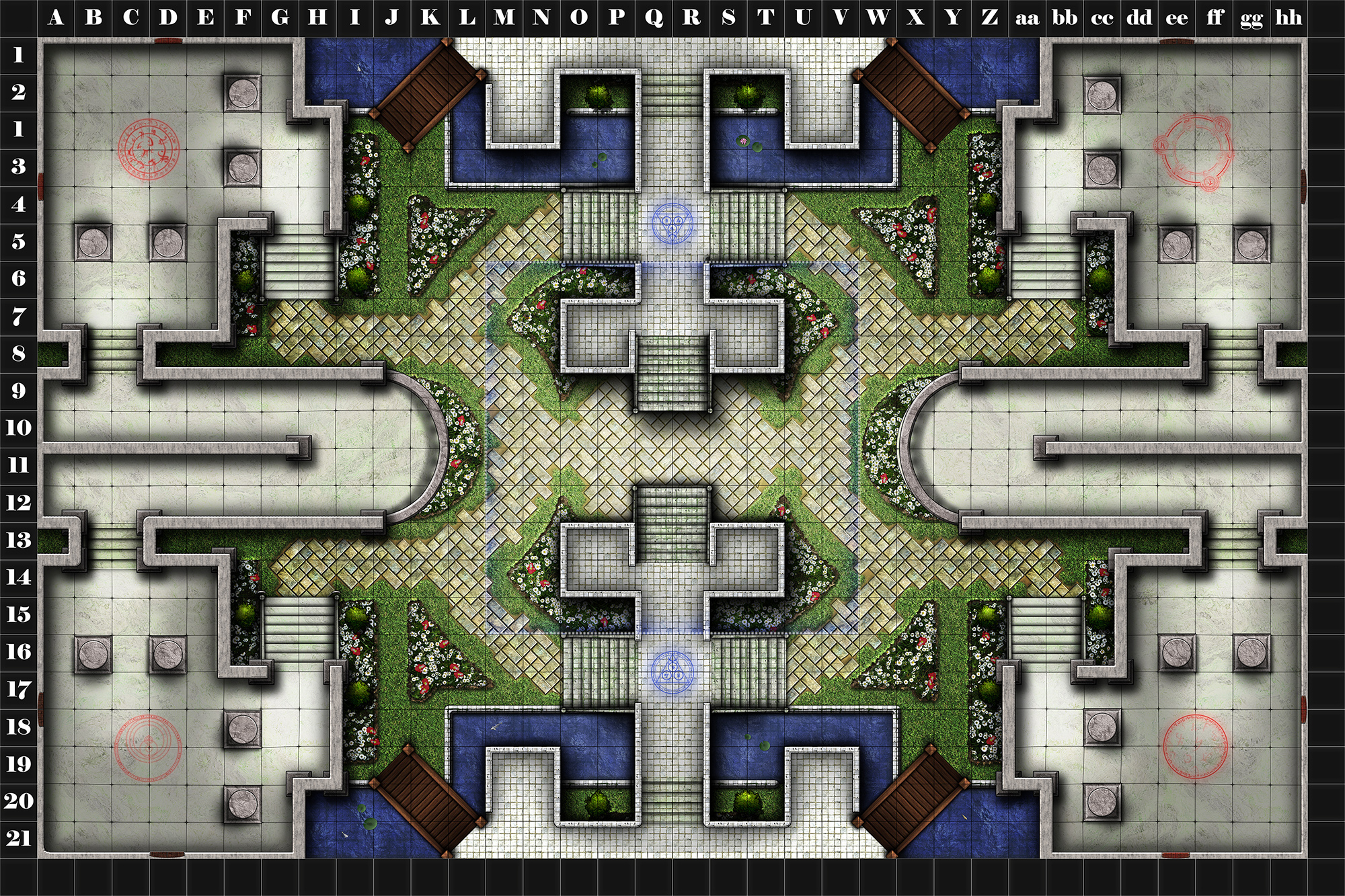 This is a D20 PvP battle map designed for four teams, comissioned by the folks at Conflict Books RPG (http://conflictbooks.com/). It is titled Ancient's Atrium, and the full version is 300DPI, posters sized. This low-res version is displayed with the permission of Conflict books solely for my portfolio use.
