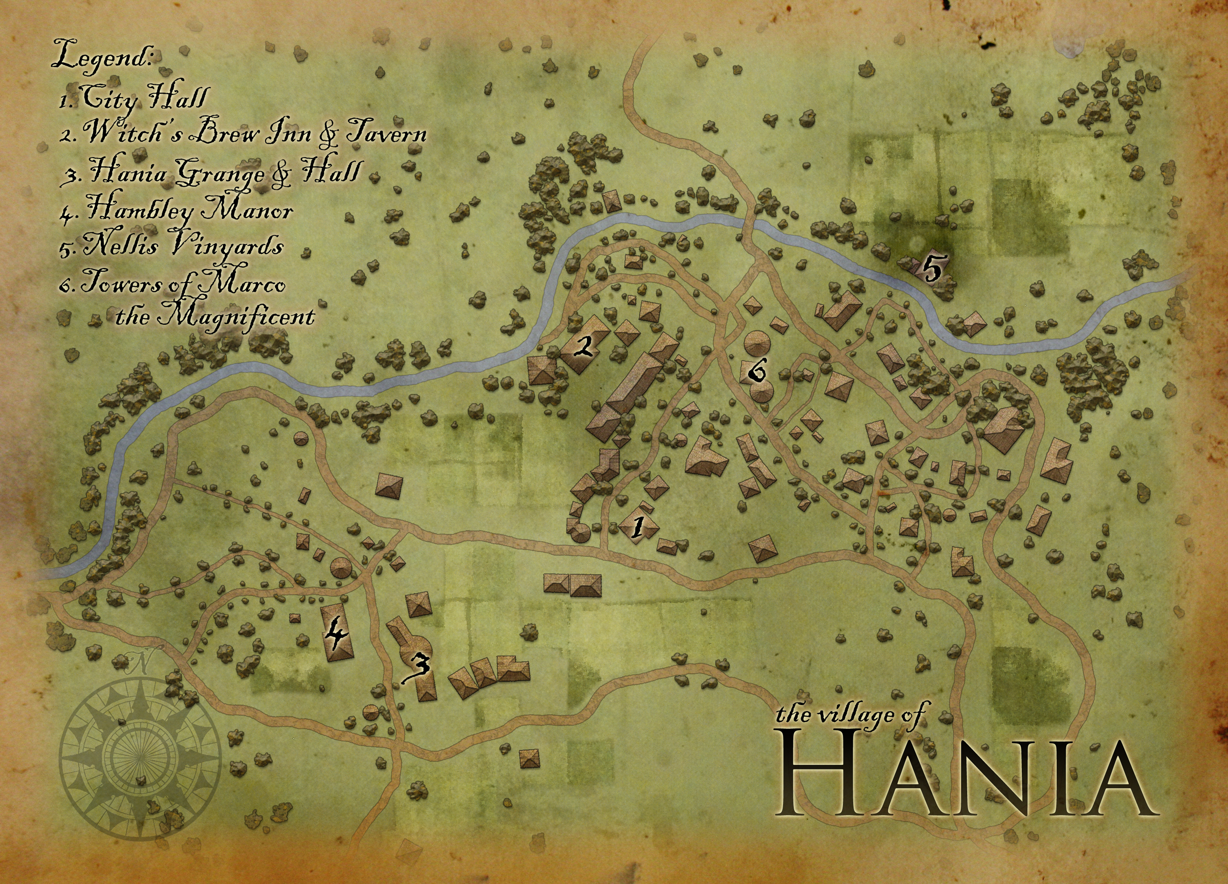The village of Hania - This is a small village along the Crescent River in the Witchlight Strand, done for the CWBP at the request of Industry Gothica. It is released under the CC BY-NC-SA license 3.0.