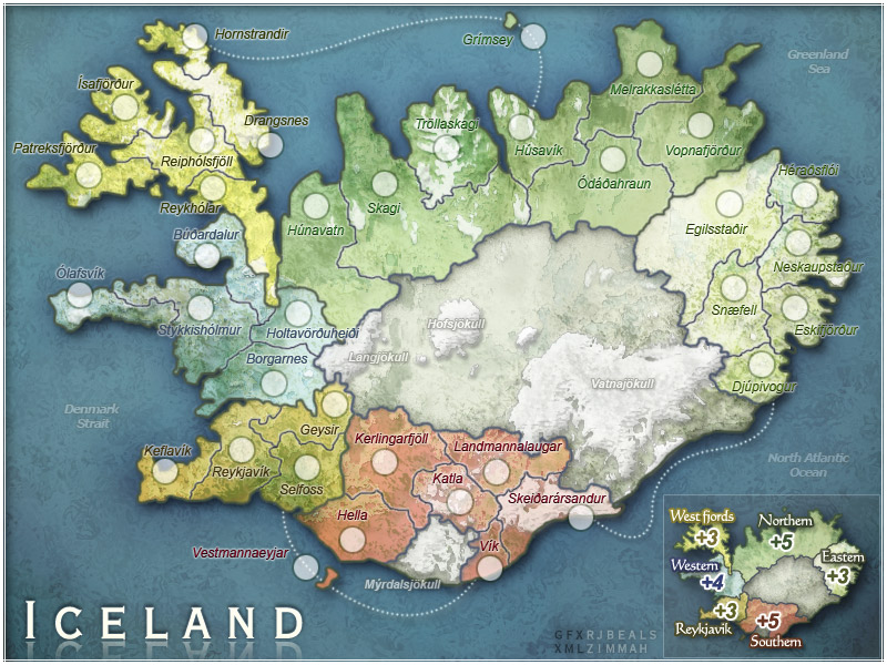 "Iceland. Made for the Risk style gaming site ""Conquer Club"""