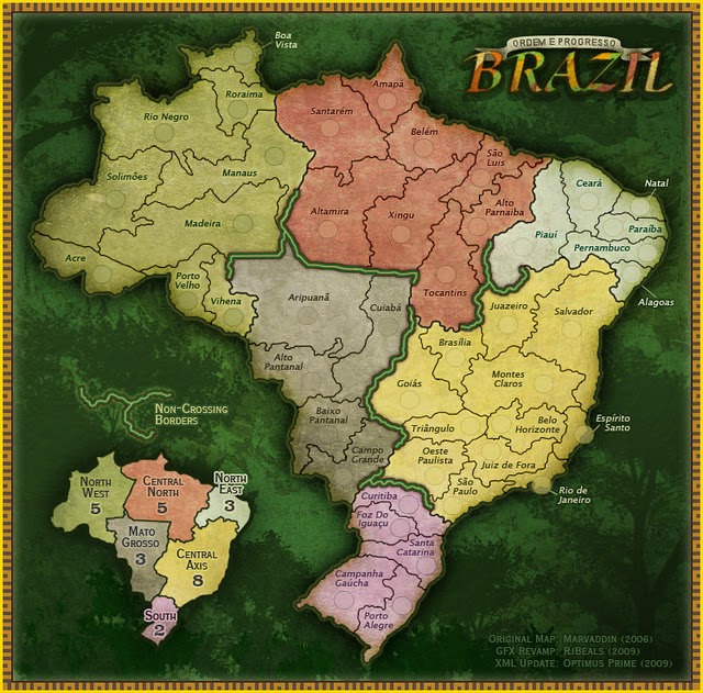 "Brazil. Made for the Risk style gaming site ""Conquer Club"""