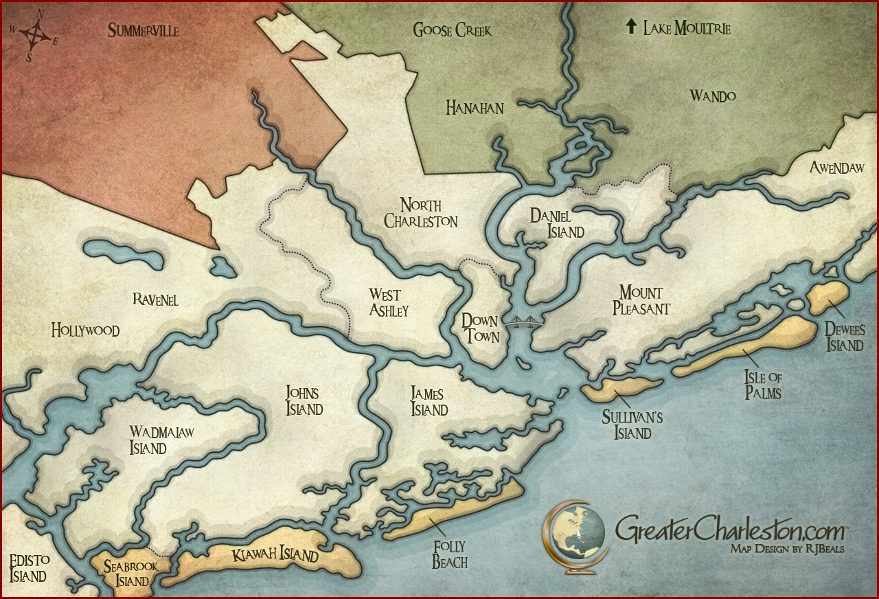 Charleston, SC. Made for GreaterCharleston.com - highlighting Counties and regions of the area.
