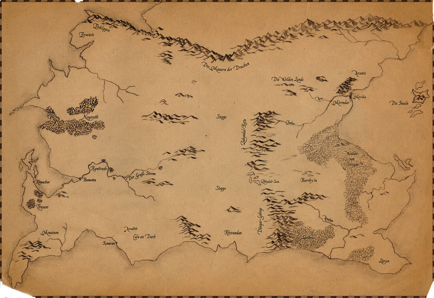 Older map of Alvarania, drawn with pencil.
