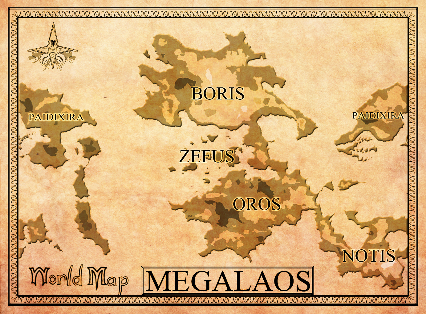 A world map! Paidixira was really my main focus the whole time, so the Megacontinent in the middle is really under produced.