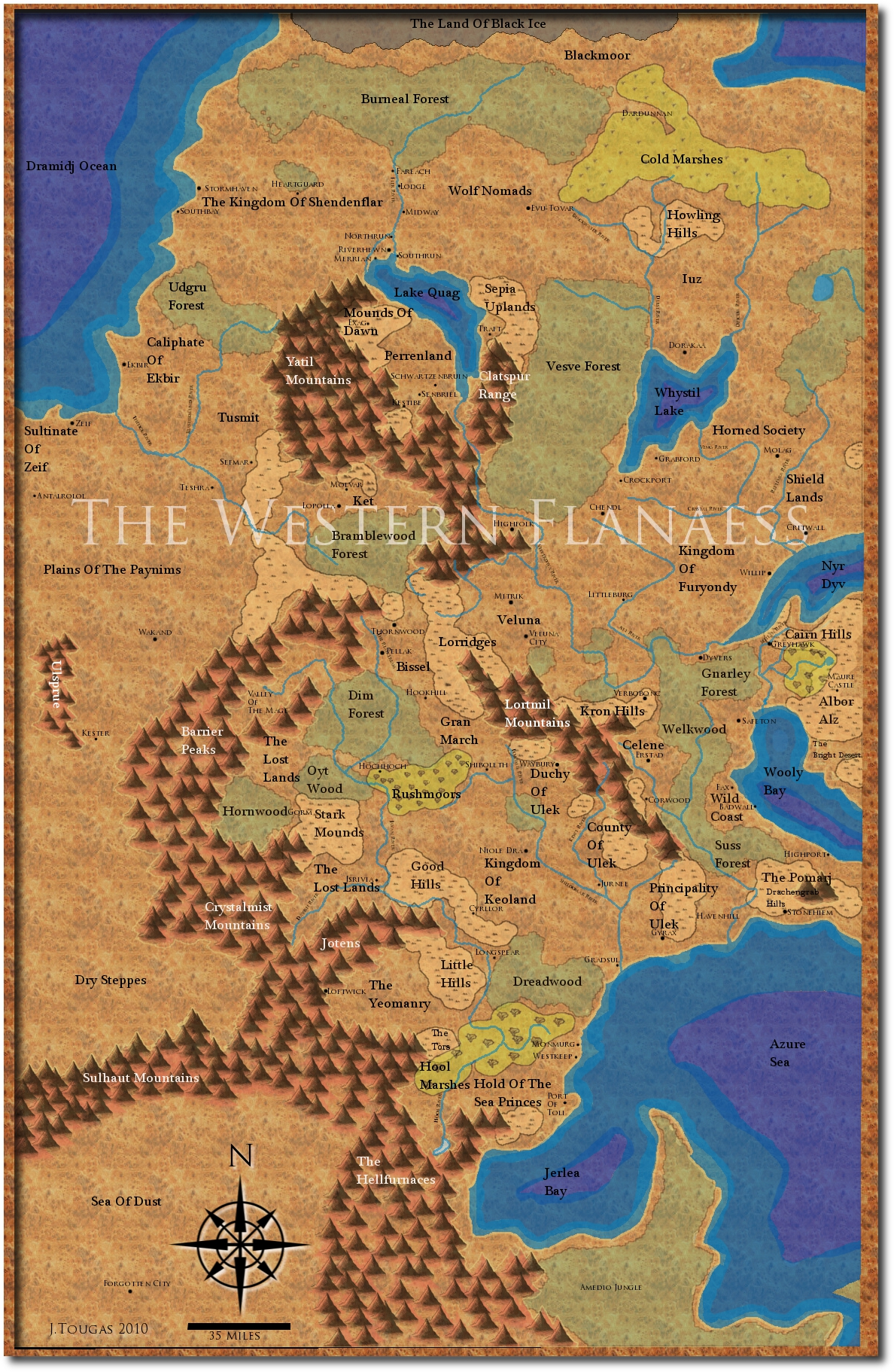 The Region that holds my Kingdom of Shendenflar Campaign Setting. For the campaign purposes the Tiger Nomads never existed and The Kingdom Of Shendenflar occupies those lands.
