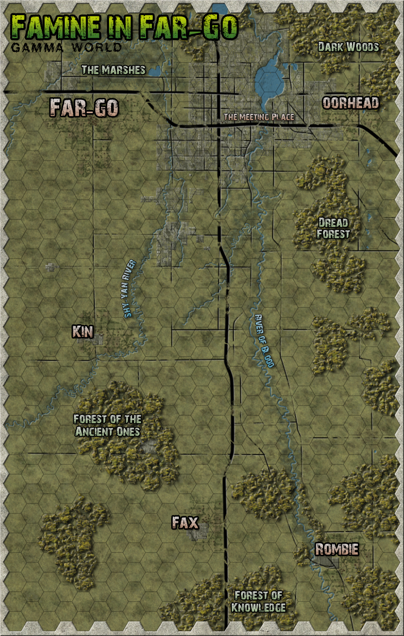 Famine in Far-Go, unmarked map. A remake of the area map for the old TSR Gamma World module.